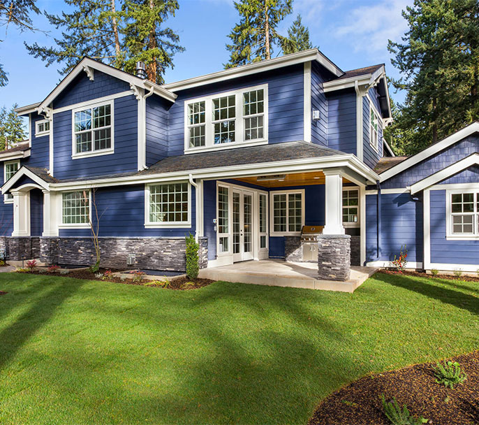Home Exterior Painting with Blue Color